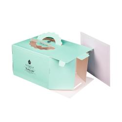 Wholesale Printed Cardboard Paper Box Cake Food Packaging Box with Handle Food & Beverage Packaging Paperboard