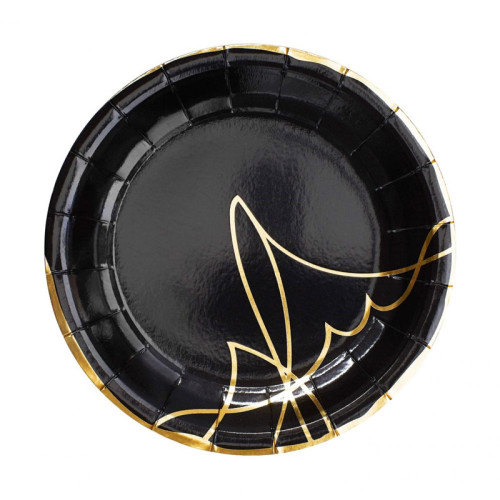 Custom Design Biodegradable Material Paper Plate Gold Foil Hot Stamping Red Paper Plates with Logo