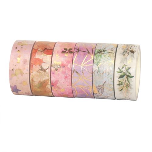 Gold Foil 15mm Wide Japanese Masking Tape for Scrapbook Bullet Journal Planner Arts & Crafts Vintage Washi Tape Set