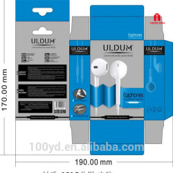 Small paperboard gift box with window custom printing packaging box for earphone headset packaging design low price