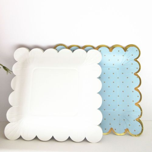 Factory Making Paper Plates Birthday Paper Plate Print Custom Logo Bagasse Compostable Material Disposable Plate Dish Square 13g
