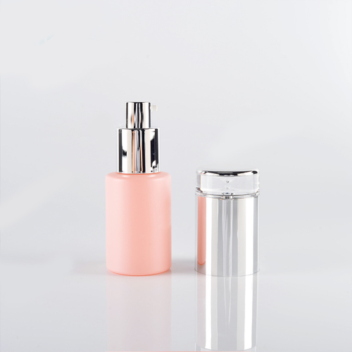 factory price cylinder 15ml 100ml matte pink snap on cap foundation lotion pump cream jar glass cosmetic packaging bottles