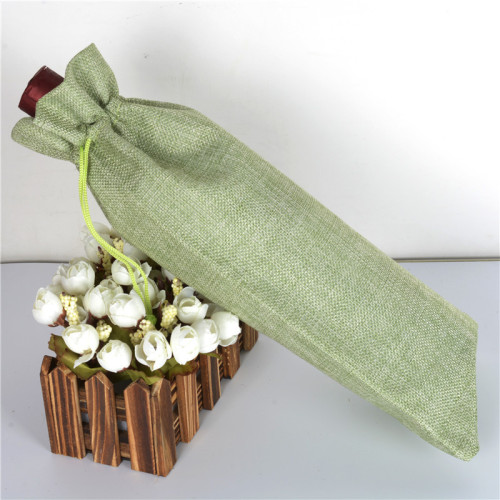 Wholesale Eco Friendly Natural Wine Customized Logo Single Bottle Burlap Wine Hemp Drawstring Bags