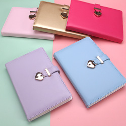 Embossed Custom Logo Acceptable A5 PU Leather Hardcover Color Coded Heart Lock Notebook