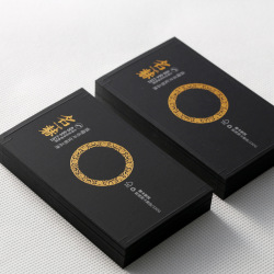 Custom emboss logo Art paper credit business name cards with gold foil printing