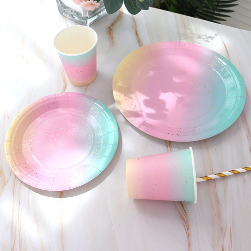 High quality party tableware disposable birthday paper plate dessert table cake plate hot gold plate