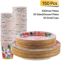Biodegradable Paper Takeaway Kraft  Bowls Fast Food Soup Container Salad  for cup  plate disposable party picnic