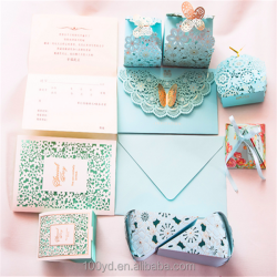 Pack Sets Colorful Personalized Design Printing Laser Cut Wedding card Invitations