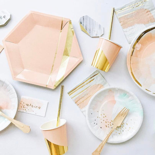 home  Rose Gold  Eco Friendly  high quality Divided Kids Plate  25pack paper  Dinnerware Sets