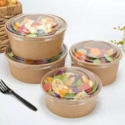 Cheap Bulk Price Food Grade Disposable Kraft Paper Salad Bowl Custom Logo Printing Paper Noodle Bowl with Lids