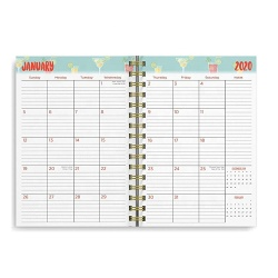 2020-2021 A5 wholesale Custom Gold Spiral square grid  Weekly Daily Planner Notebook