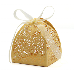 Gold Laser Cut Rose Candy Boxes 2.5