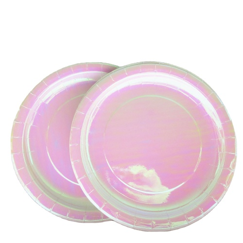 Factory Wholesale New Arrival 7 Inches Small Pink Holographic BBQ Tableware Laser Paper Plates for Wedding Party Supplies