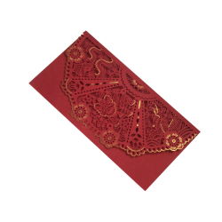 Amazon Hot Product Hollow Out Design Lace Red Color Wedding Invitations Cards Luxury Decoration Laser Cut Cards