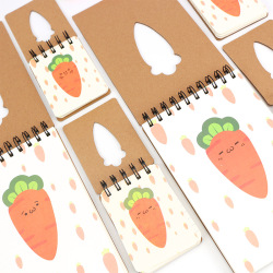 Wholesale Custom Cute Carrot Design Pocket Kraft Paper Cover Recycable Sprial Mini Notepad