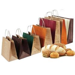 Custom Food Grade Bakery Take Out Food Packaging Brown Craft Kraft grocery Paper Bags