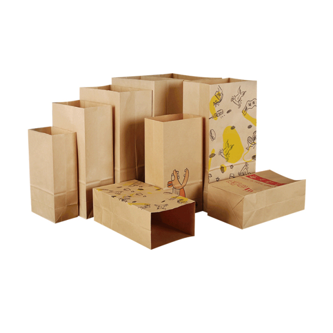 Large Thermal Insulated Food Storage Delivery Packaging Stand Carry Bag 100% Reusable Paper Food Package Kraft Brown Paper Bag