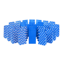 Blue Party Favor and Wrapped Treat Bags Assorted Designs White Dots Gift Bag For Birthdays, Baby Showers, School Lunches