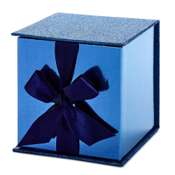 Dark Blue Glitter Small Gift Box with Fill For Christmas, Hanukkah, Father's Day, Weddings, Graduations