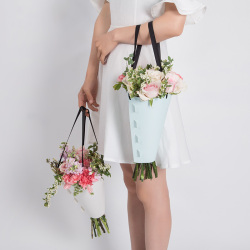 Logo Personalized Portable Bouquet Flower Carrier Gift Packing Dried Flower Paper Bags
