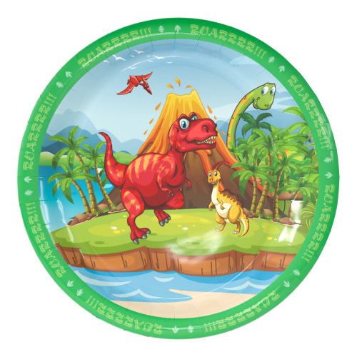 Custom Printed Disposable Round Shaped Paper Plates Sugarcane Material Compostable Party Paper Plate Set