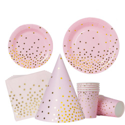 Customized birthday party tableware set black and pink polka dot paper cup and paper plate for children's birthday