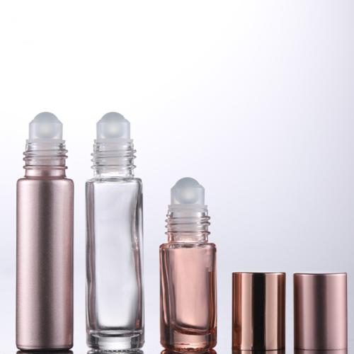 hot sale 0.1fl.oz 3ml roller bottles for essential oils glass bottle eye serum roller pink frosted with box packaging design