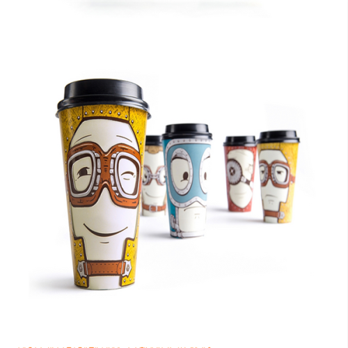 Fancy Disposable Custom Printed Double wall Coffee Paper Cups