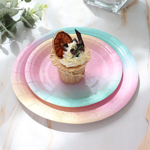 Party tableware disposable birthday paper tray dessert tray cake hot gold plate decorate plate