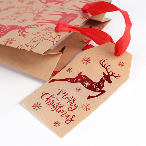 Customised Premium  Kraft Paper Gift Bags with Handles and tags
