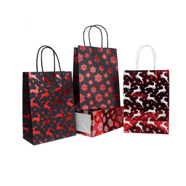 Wholesale Cheap Festival Christmas custom printed gift natural kraft Recycled paper bag gift bags