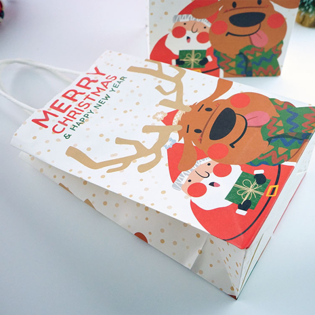 Custom Print Merry Christmas Kraft Paper Shopping Gift Bag with Custom Logo