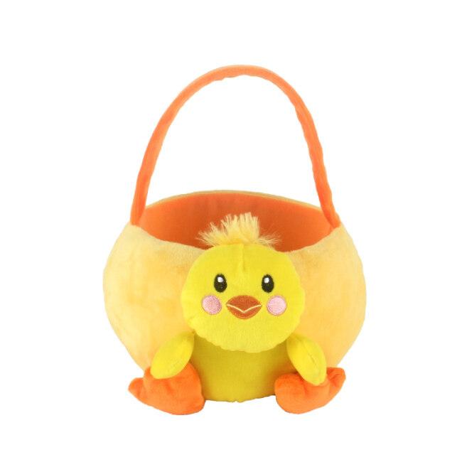 soft  plush duck basket toy for 2020 easter festival