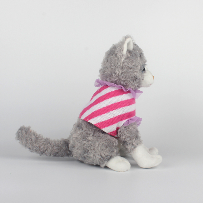 Cat Plush Toy With knitted shirts