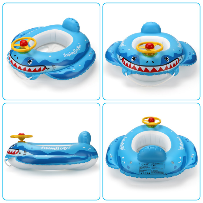 Inflatable Pirate Boat Pool Float, Squirt Gun & Steering Wheel with Horn, Swim Seat Boat Toddlers and Children's Toys for Age 1-4 Years Old