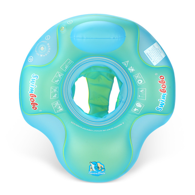 Inflatable Baby Swim Float with Bottom Support and Backrest Support Swimming Pool Accessories-Help Baby Learn to Kick and Swim