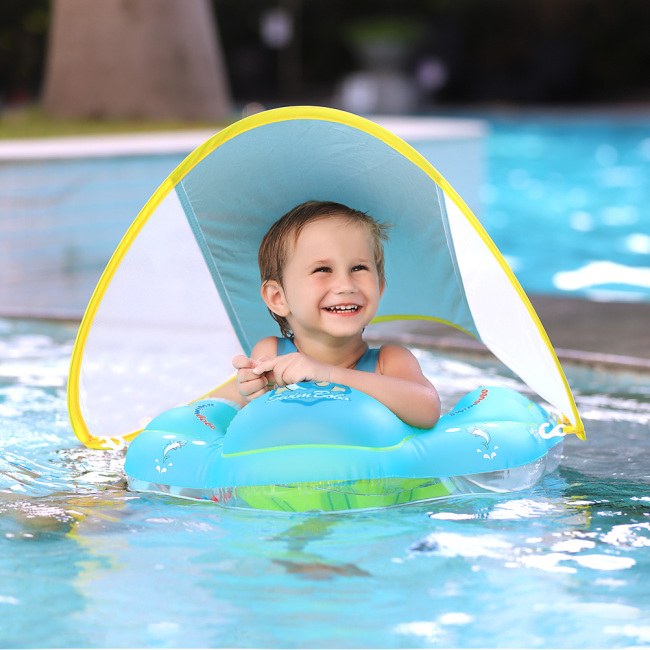 Inflatable Baby Swimming Float with Safe Bottom Support and Retractable Canopy for Safer Swim