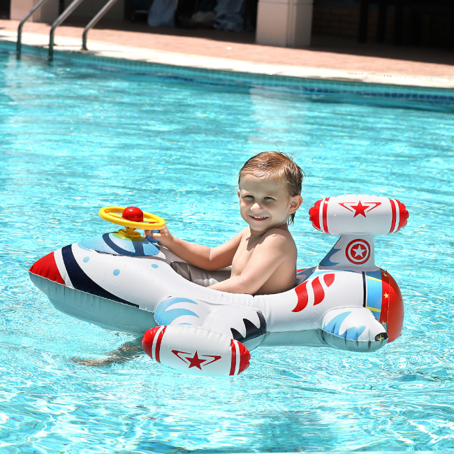Inflatable Airplane Swimming Float Seat Boat Pool Swim Ring for Baby Kids Toddler