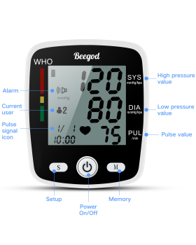 Beegod Blood Pressure Monitor, Automatic BP Monitor Irregular Heart Beat Detection Cuff with Large Display Screen Support Charging Supply for Home Use