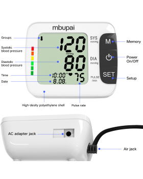 mbupai Blood Pressure Monitor Newest Digital Automatic Upper Arm Blood Pressure Meter Accurate Pulse Rate Monitoring for Home Use-120 Readings Memory, Talking Set, Ultra Large Range Cuff (8.6-14.2 inch)
