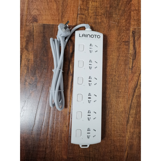 LAINOTO Power Strip 6 Outlets 9.8ft Surge Protector Heavy Duty Extension Cord 2500W 10A for Commercial, Industrial, School and Home