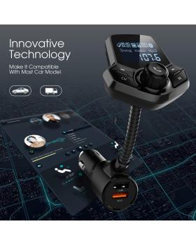 in-Car Bluetooth FM Transmitter Wireless Radio Adapter Hands-Free Car Kit with 1.44 Inches Display TF Card Mp3 Player Dual USB Ports AUX Input/Output Voltmeter Function for Smart Phones Audio Players