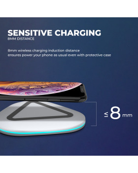 Wireless Charger Qi-Certified Ultra-Slim Phone Charging Pad Compatible Galaxy S9/S9+/S8/S8+/Note 8 iPhone Xs/Xs Max/XR/X/8Plus/8 Nokia Lumia(Silver)