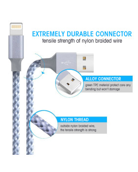Lightning Cable, Nylon Braided iPhone Charger MFi Certified Charging Cable Cord Compatible with iPhone Xs/Max/XR/X/8/8Plus and More-3/6/10FT
