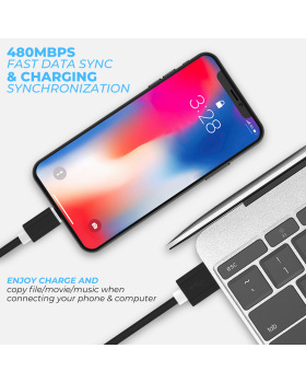 Apple MFi Certified iPhone Charger Lightning Cable Extra Long Nylon Braided USB Charging & Data Syncing Cord Compatible iPhone Xs Max XR X 8 8Plus 7 7Plus 6S 6S Plus SE iPad [5 Pack] - Black