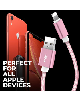 Lightning Cable - 5 Pack USB Syncing and Charging Cable Data Nylon Braided Cord Charger Compatible for iPhone iPad iPod-Pink