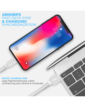 iPhone Cable, Charging Cable [5 Pack] Durable Nylon Braided Wire Data Sync Charging Cord Compatible iPhone X/8 iPlus/7 Plus/6s/6 Plus/6s Plus/5/5s/5c and More -Sliver