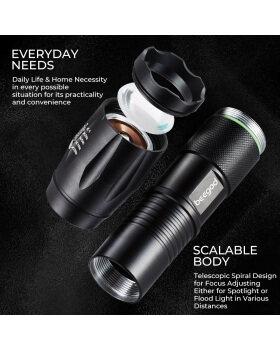 ポータブルLEDタクティカル懐中電灯、1000LumensウルトラブライトXML-T6懐中電灯、キャンプハイキングハンティング用の5つのライトモードを備えたハンドヘルドブライトLEDトーチズーム可能な耐水性