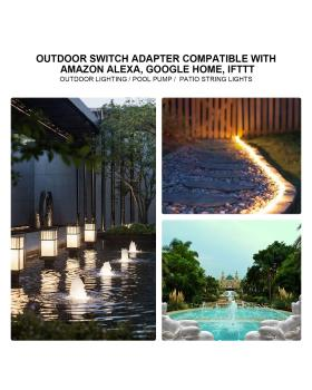 Smart WiFi Outdoor Plug, Smart Outlet Compatible with Alexa, Google Home, IFTTT, Timer and Remote Control, IP55 Waterproof, Over-Current Protection, Smart Outdoor Switch with Energy Monitoring