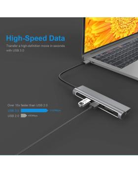 USB C Hub Ultra Aluminum Slim USB C Adapter with USB 3.0 Ports TF/SD Card Reader HDMI Port Type C Power Delivery Compatible for MacBook Pro Chromebook Phone Hard Flash Drive Other USB C Laptop
